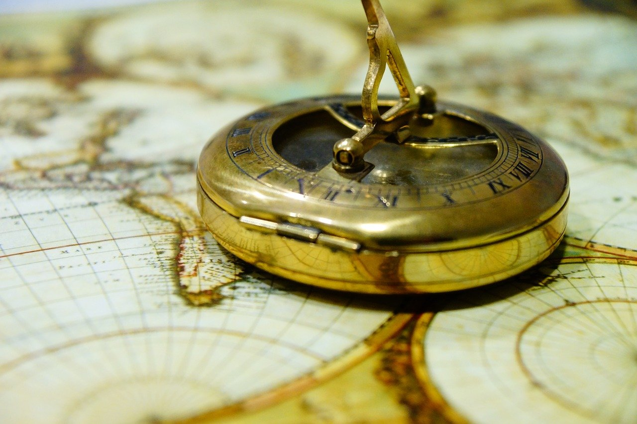 compass, antique, map of the world