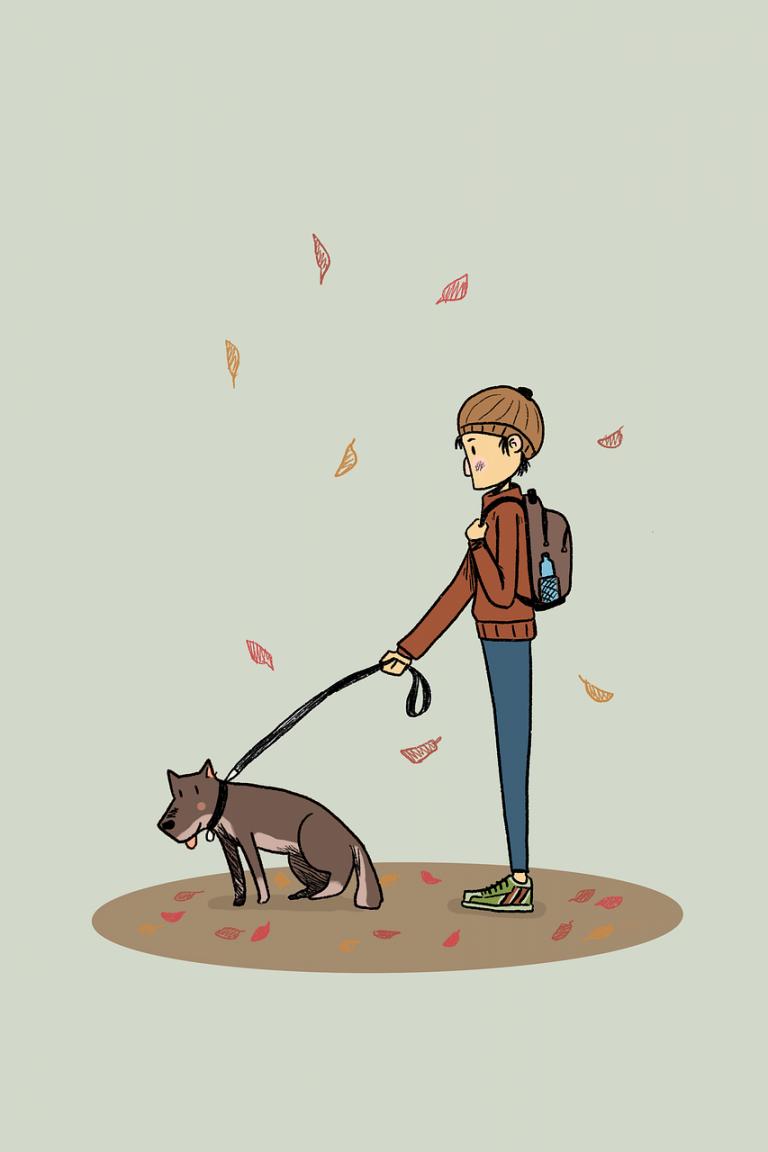 dog, human, man